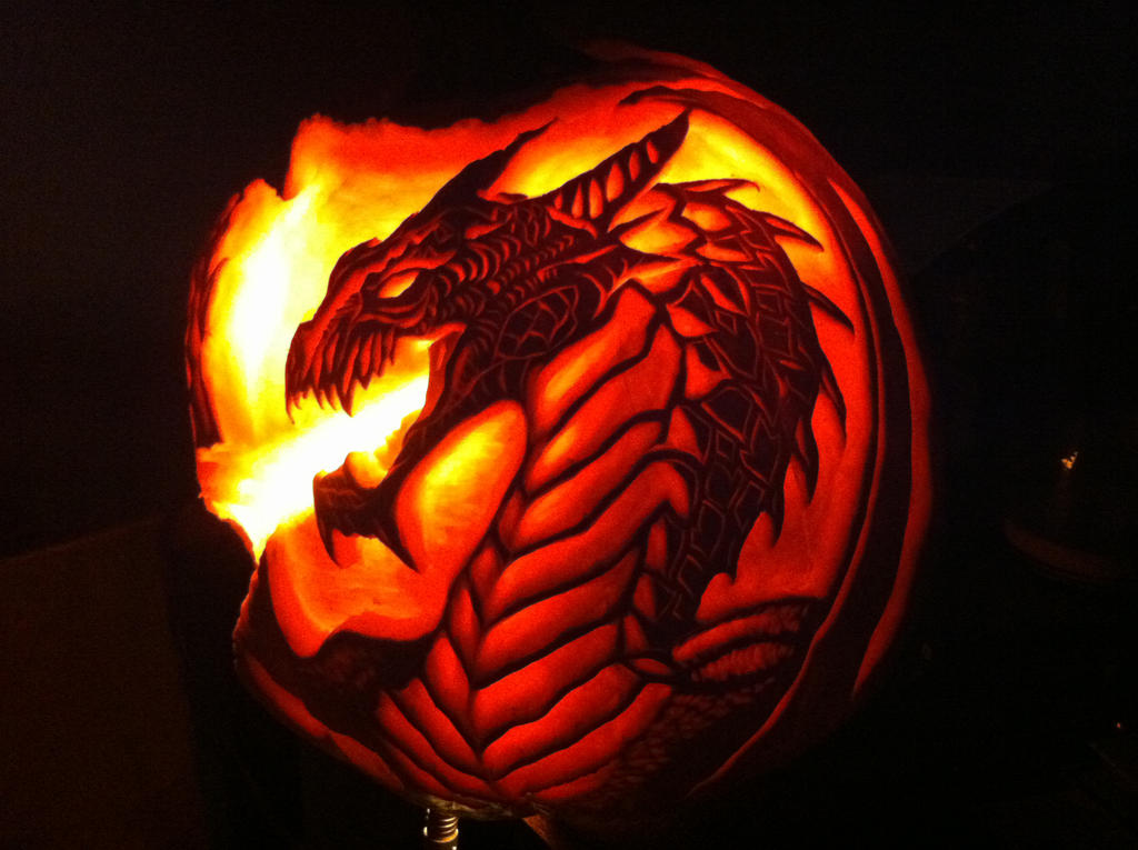 Dragon pumpkin carving by wilderflower on deviantart Awesome pumpkin drawings