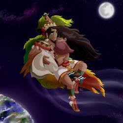 Quetzalcoatl and Mayahuel by Chrissyissypoo19