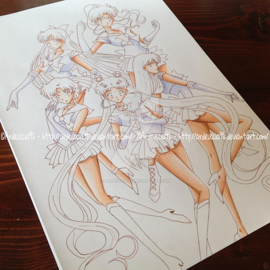 COLORING 1: Sailor Guardians - Sailor Moon Crystal by Ardeuccia92