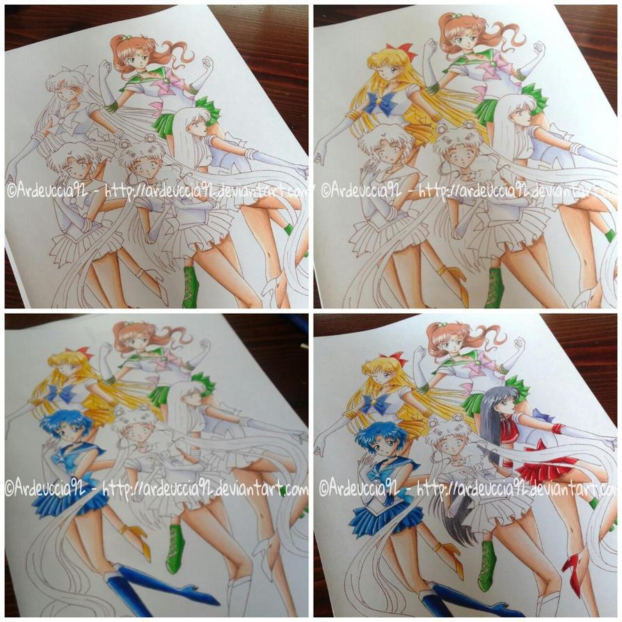 coloring 2 sailor guardians sailor moon crystal by ardeuccia92 - Sailor Moon Coloring Pages 2