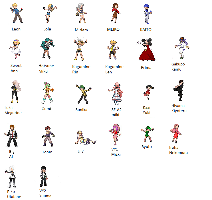 VOCALOID as Pok... Vocaloid Names List