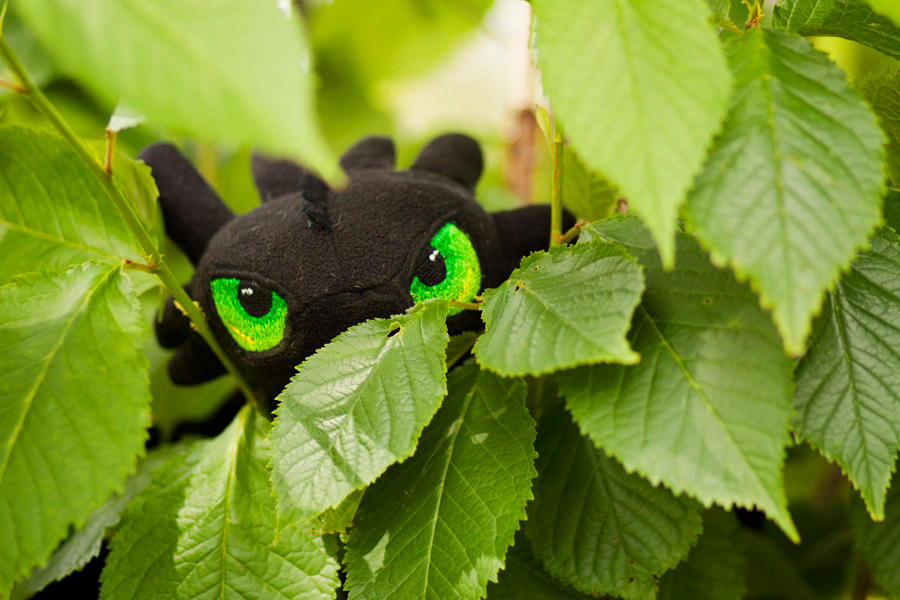 Toothless plush, embroidered eyes