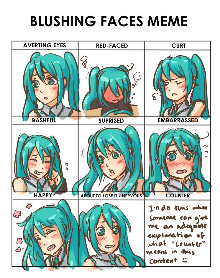 Blushing Faces Meme Miku By Missmeggsie On Deviantart