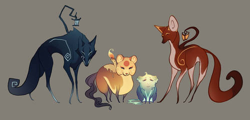 Lantern Wolf Character Designs