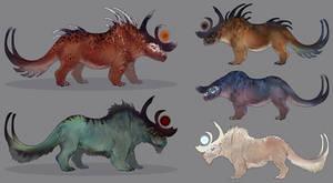 Rhino Dragon Concepts by CobraVenom
