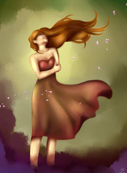 Girl into forest's wind