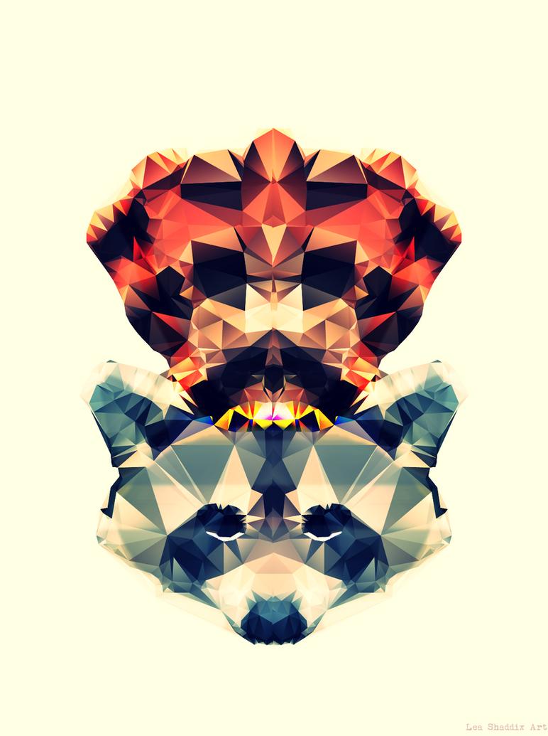 Geometric Racoon by vampire-88