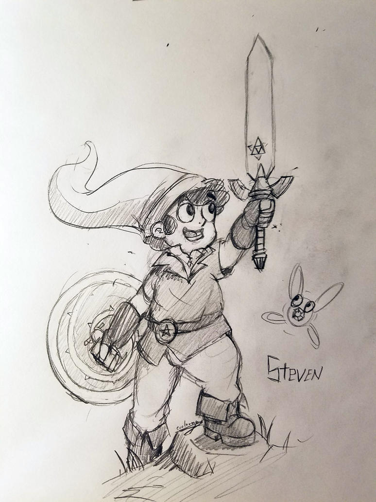 Steven Universe as Link, Some traditional pencil and paper artwork. This was fun to draw. I hope everyone enjoys. Speed drawing video: youtu.be/FFLwGBD0a0k