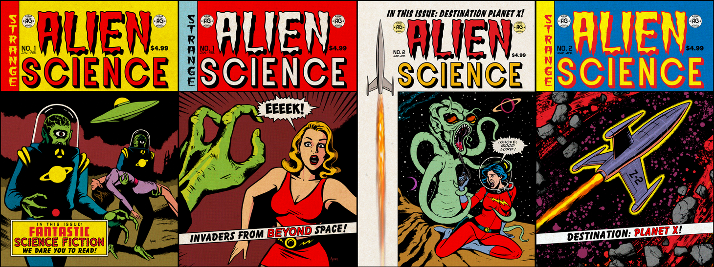Alien Science comic book covers! by cubist1234