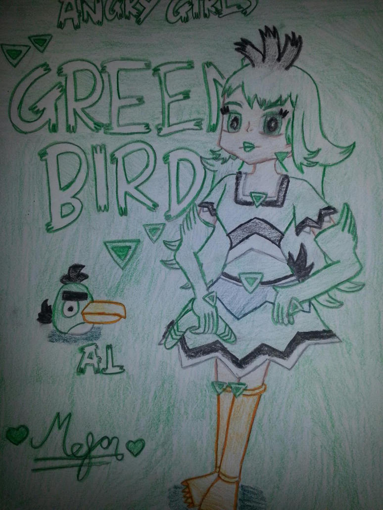 Angry Girls/Angry Birds: Green Bird Girl by MeganLovesAngryBirds