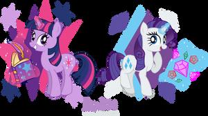 MLP: FIM -Twilight Sparkle and Rarity by MeganLovesAngryBirds