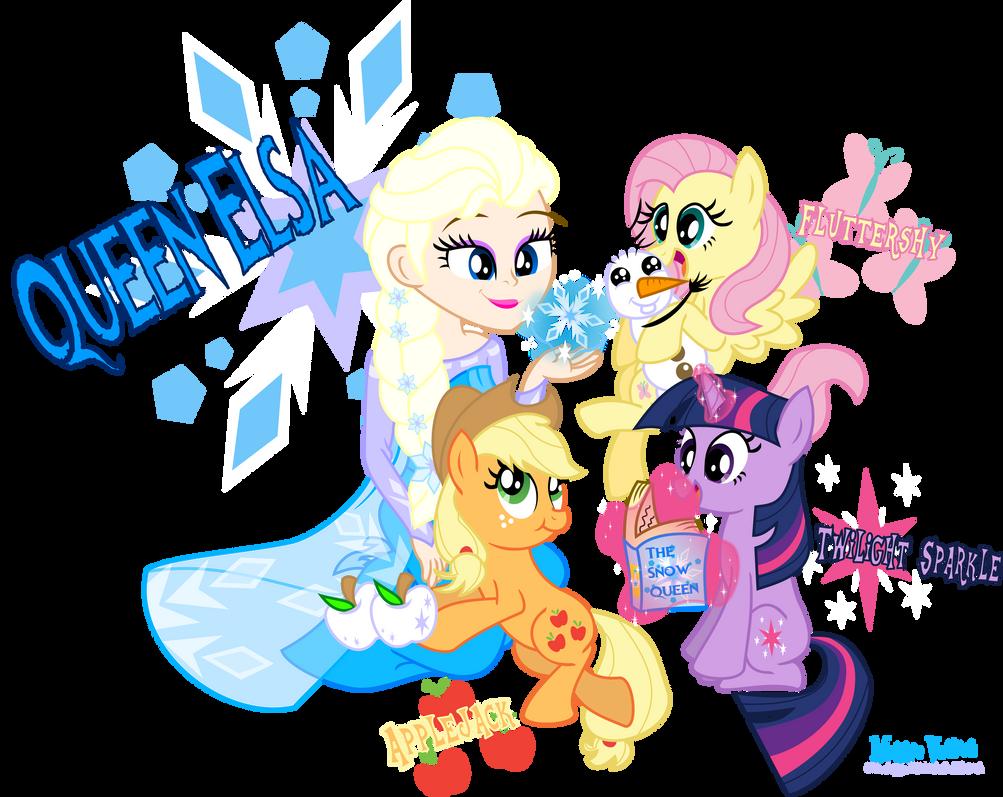 Elsa meets Twilight , Fluttershy and Applejack by MeganLovesAngryBirds