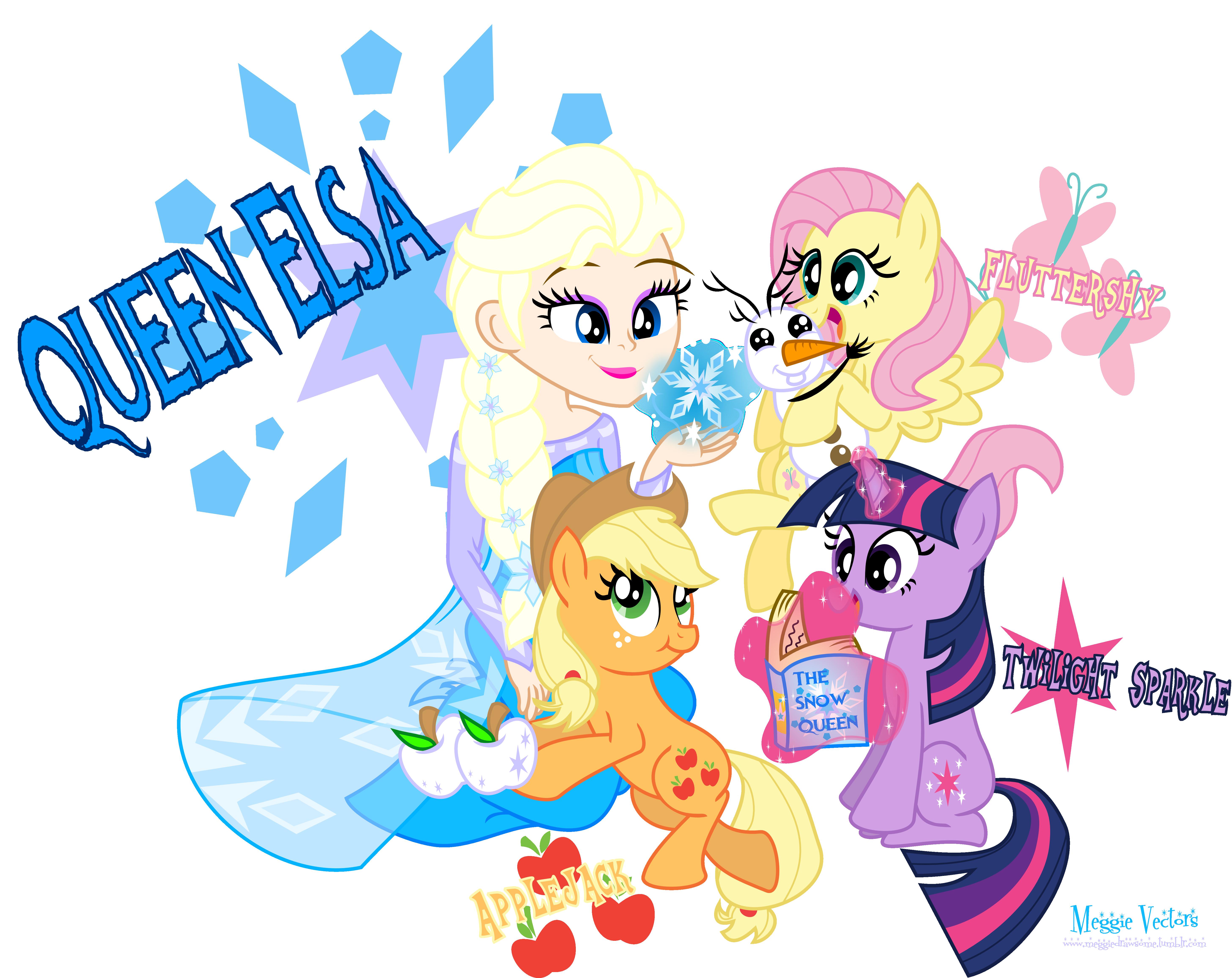 Elsa Meets Twilight Fluttershy And Applejack By