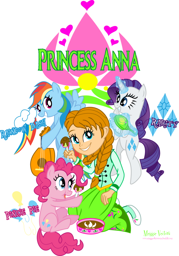 Anna meets Rarity, Rainbow and Pinkie by MeganLovesAngryBirds