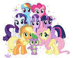 The Mane 7 and Spike