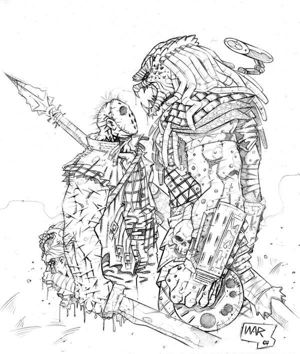 predator vs jason coloring pages - photo#2