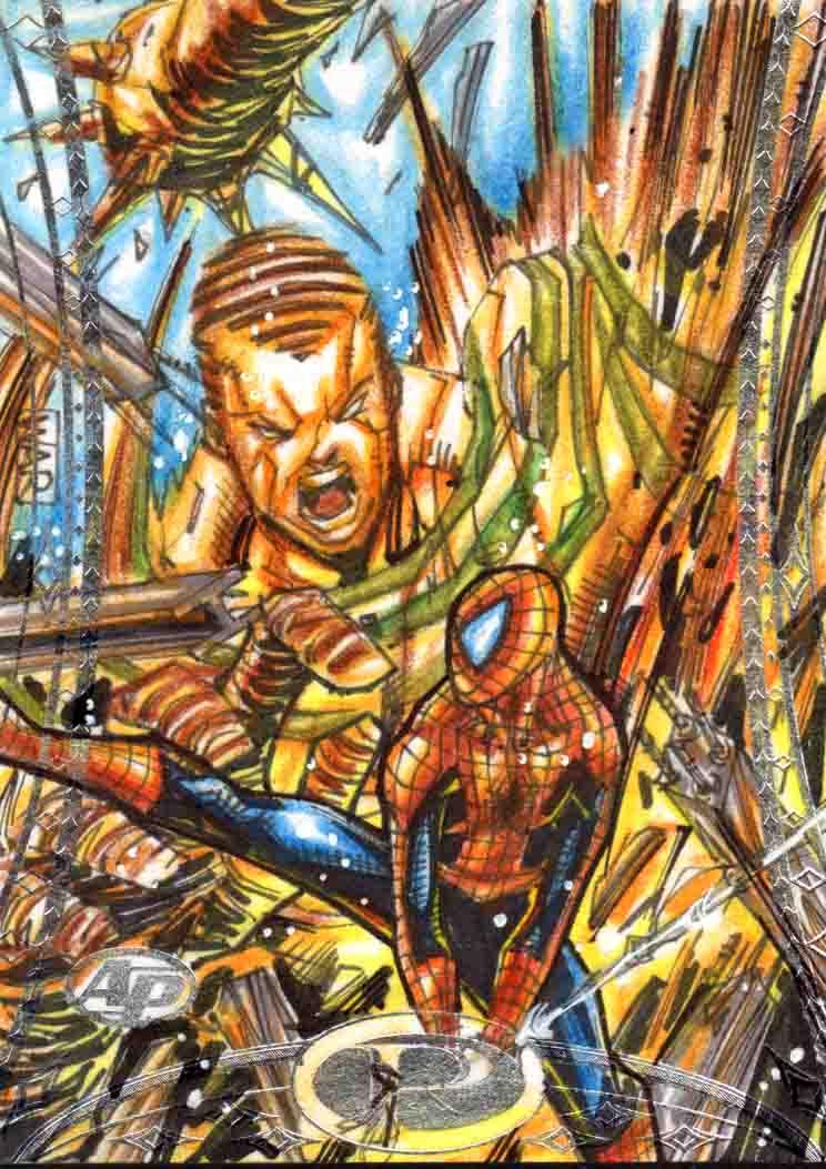 Sand man vs spiderman Marvel Premiere Upperdeck AP by warpath28