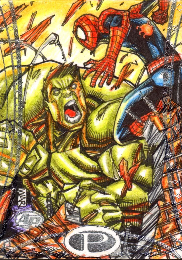 Hulk Vs Spiderman Marvel Premiere Upperdeck AP by warpath28