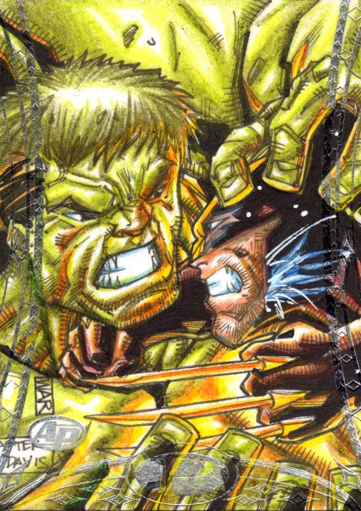 Hulk Vs Wolverine Marvel Premiere Upperdeck AP by warpath28