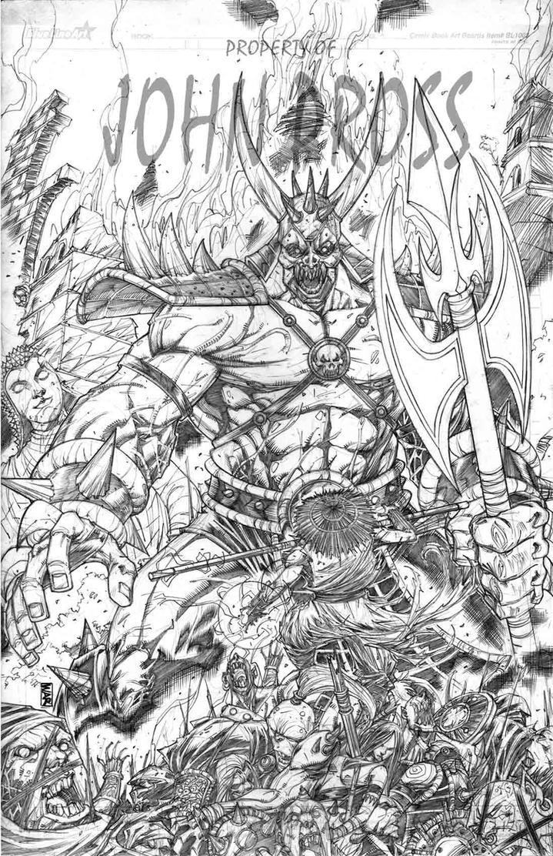 Shao Kahn vs Raiden  pencils done for John Pross by warpath28