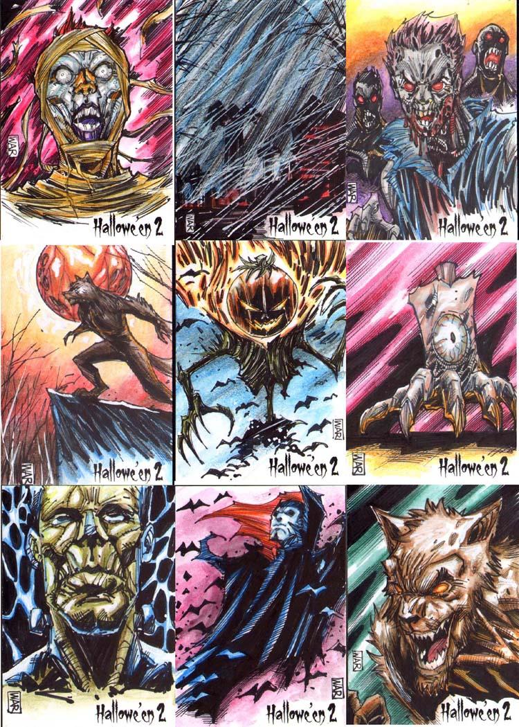 Halloween 2 sketchcard block for Perna Studios by warpath28