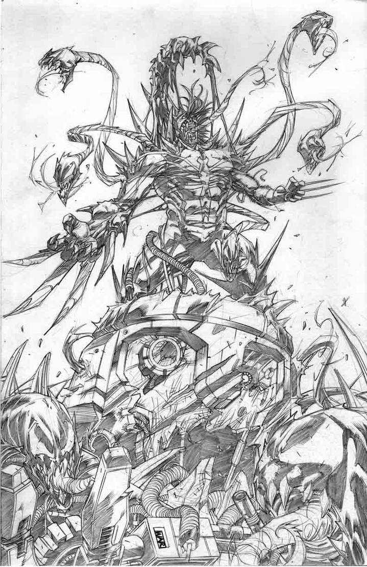 Wolverine With Symbiote pencils by warpath28