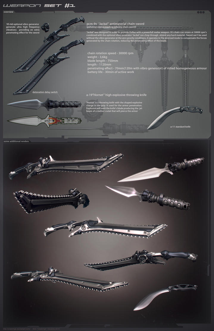 chain sword and knives by Crashmgn
