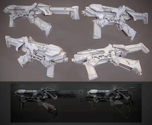 SMG clay render