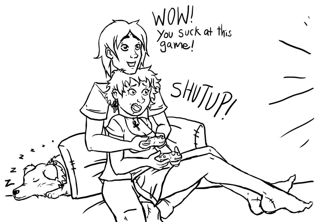 Line: GamerCouple by Inky-Doodle