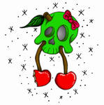 +Skull Cherries Tattoo Design+