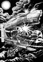 Clanker planes attack airship Leviathan by Tulikoura