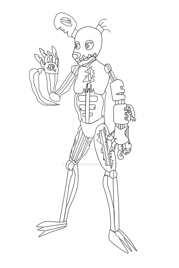 Drawkill springtrap lineart by roleplaydummy211 on deviantart for Fnaf coloring pages springtrap