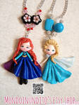Elsa and Anna from Frozen Kawaii necklaces