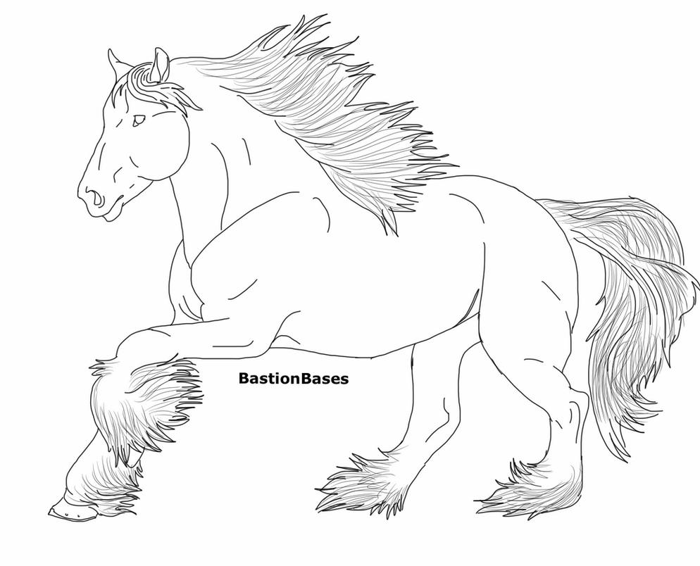free clydesdale mare lineart by bastionbases on deviantart