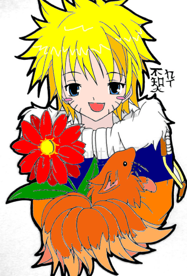 naruto and chibi kyubi colored by yuri12inuzuka on DeviantArt