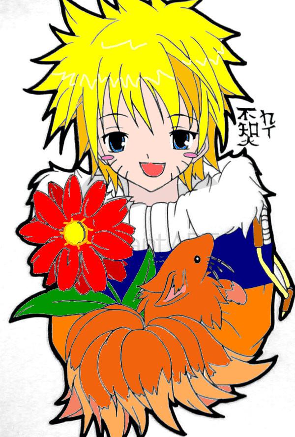 naruto and chibi kyubi colored by yuri12inuzuka on DeviantArt