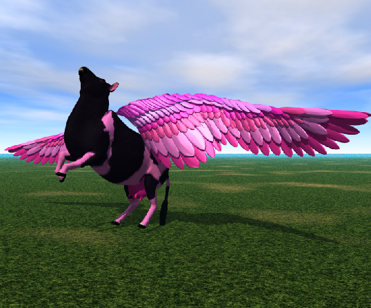 Image result for pink flying cow