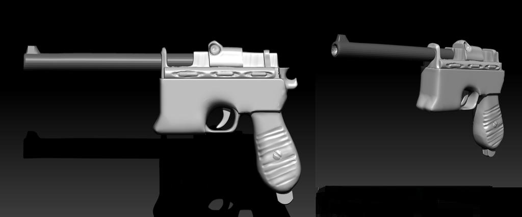 Mauser C96 (primer arma en zbrush) by sapoirlandes