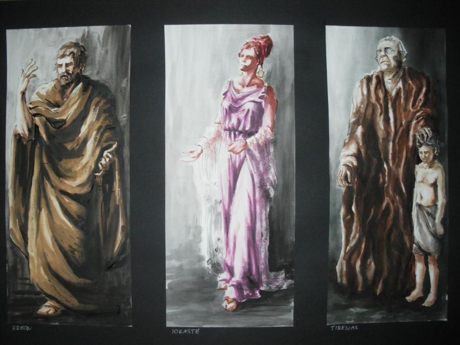 Oedipus rex Kreon, Jocasta and Teiresias by trungeleni on ...