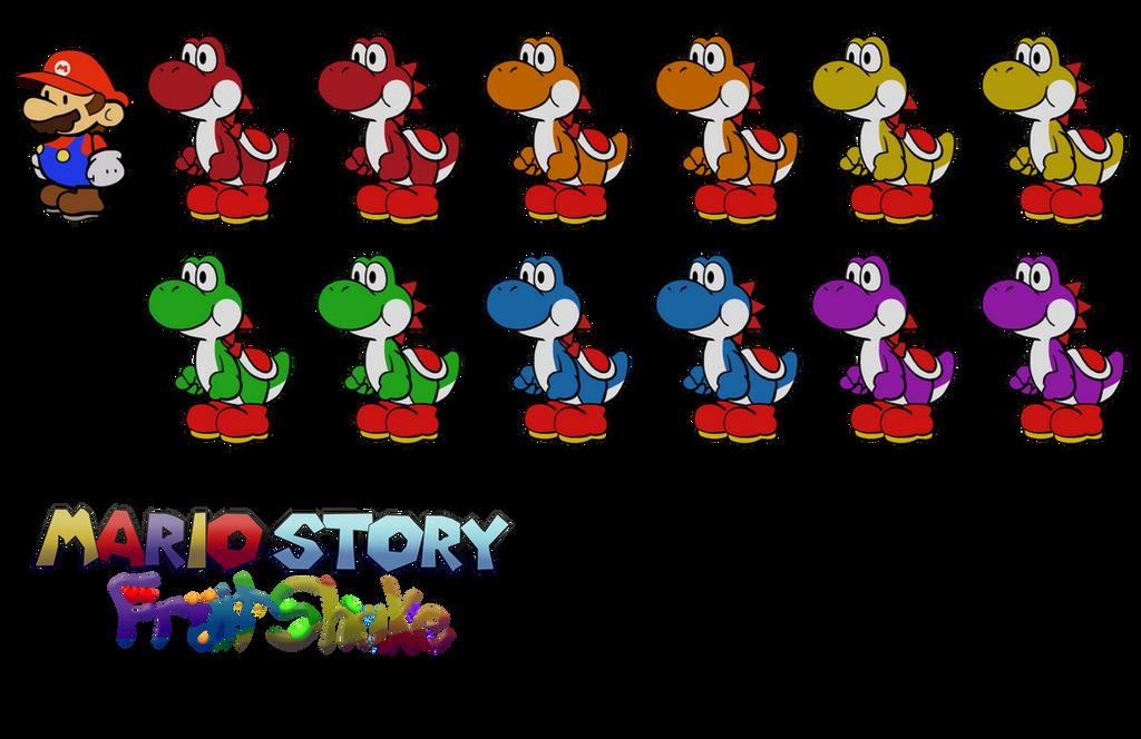 Yoshis (Mario Story Fruit Shake) by DerekminyA