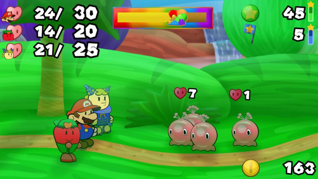 Mario Story Fruit Shake battle example 2- tropic by DerekminyA