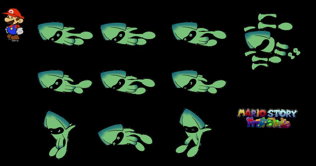 Surfing Blooper (Mario Story Fruit Shake) by DerekminyA