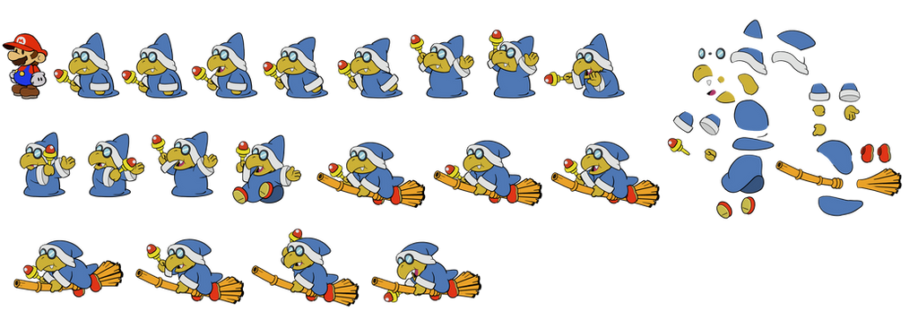 Kamek (Paper Mario) plus Paper Magikoopas by DerekminyA