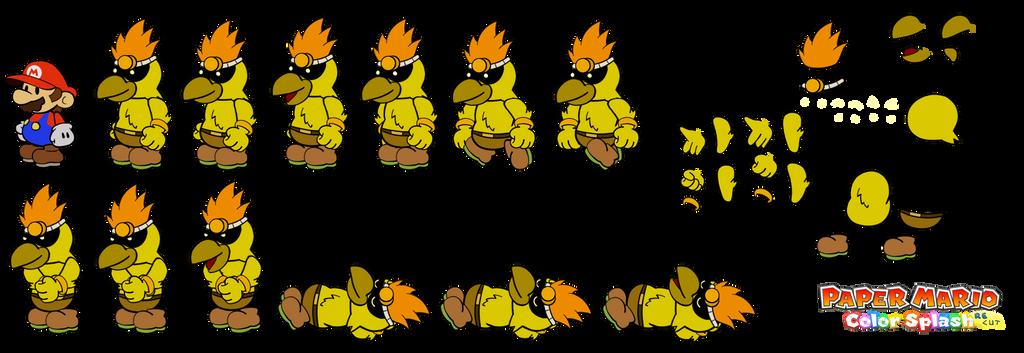 Pawk Hawk v2 (Paper Mario Color Splash Recut) by DerekminyA