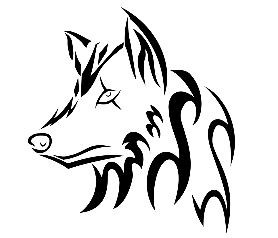 Lineart Wolf Tattoo : Tribal wolf head by ookami on deviantart