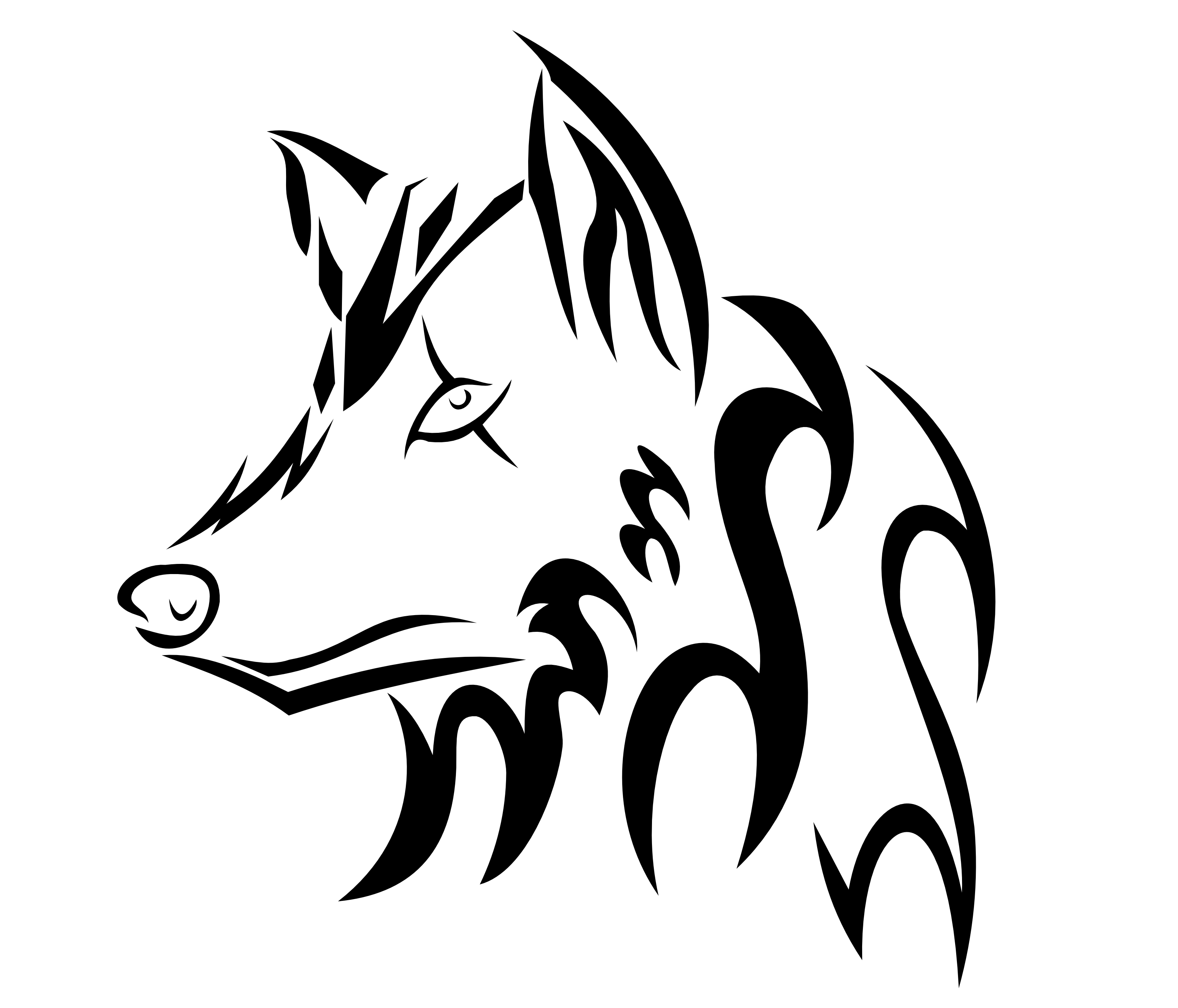 easy tribal wolf drawing - photo #2