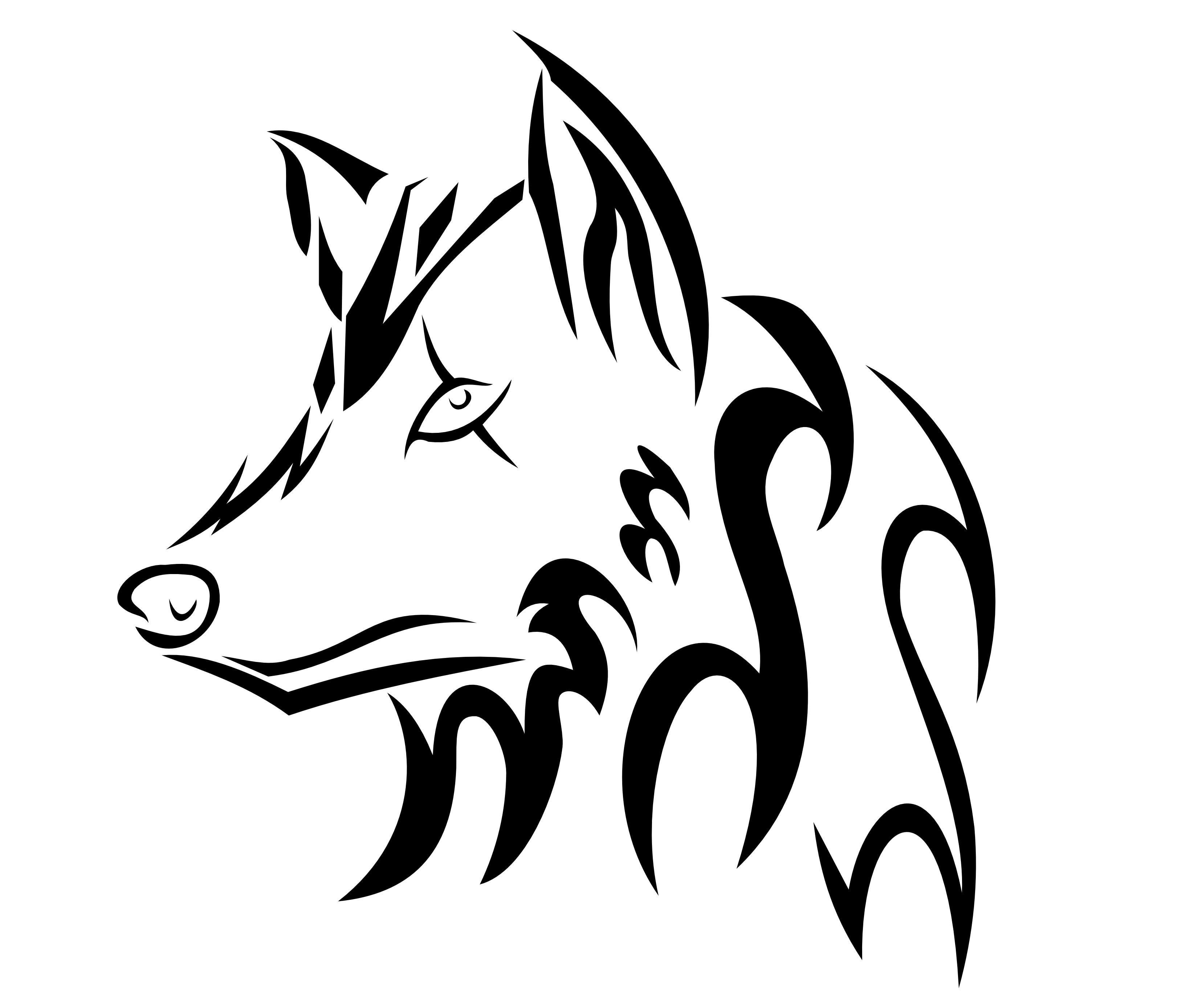Tribal Wolf Head Drawing