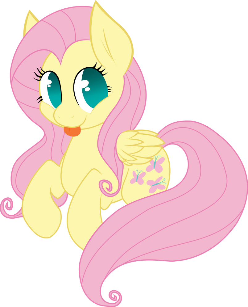 Fluttershy is sticking her tongue out by Ookami-95
