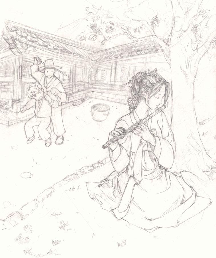Line Art Village : Korean village scene st draft by layzkimchi on deviantart