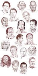 Sketchdump - the men of DS9 by Dahkur